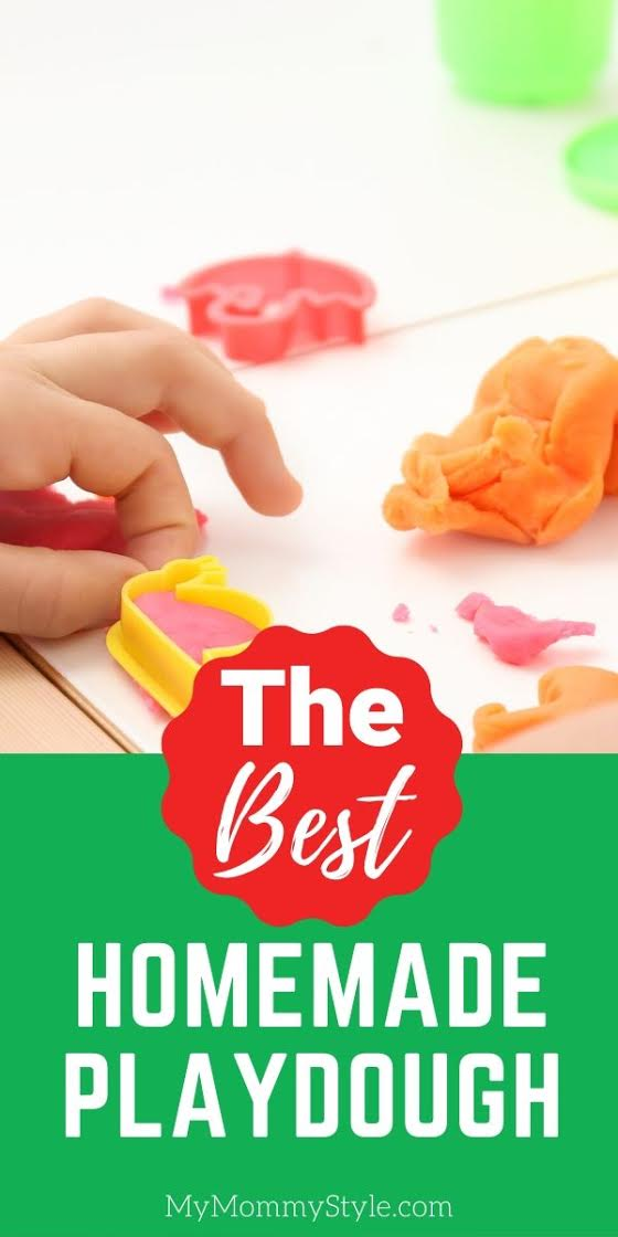 Keep your kids busy and happy for hours with this easy homemade playdough recipe. This playdough has the best texture and lasts a long time! via @mymommystyle