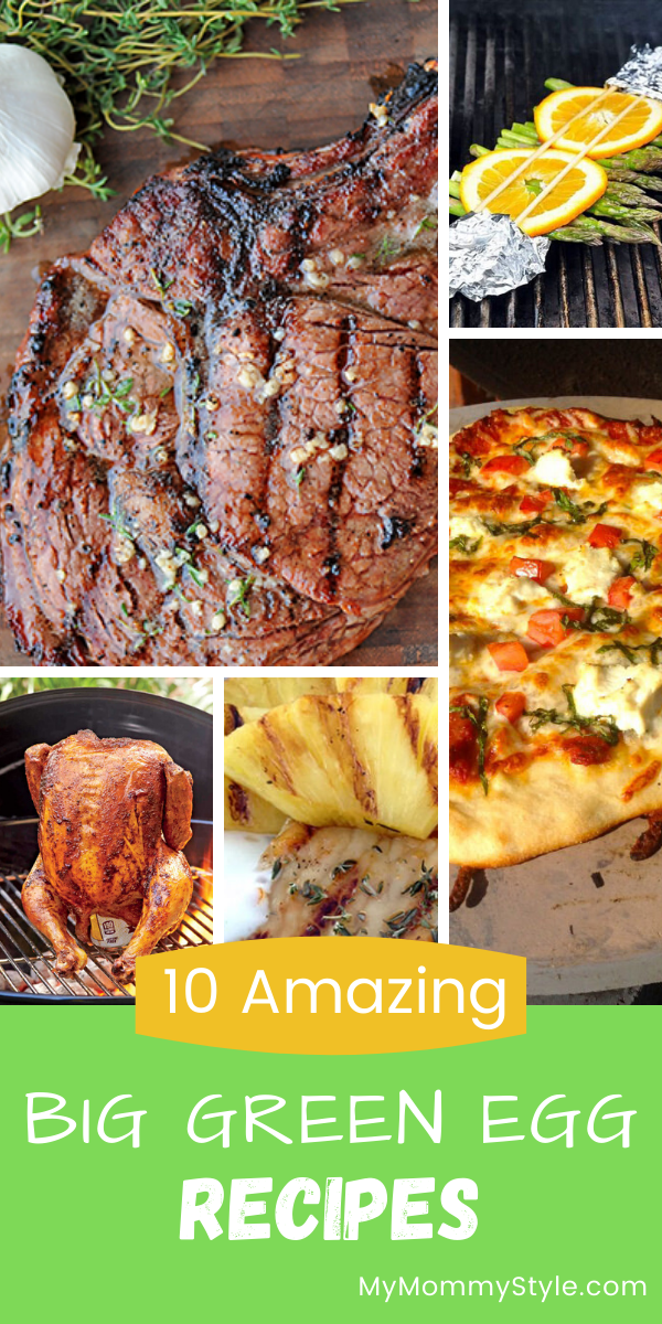 Here are 10 amazing Big Green Egg recipes to give you some grilling ideas for these warmer nights. From meat to veggies to pizza we've got you covered! #biggreeneggrecipes via @mymommystyle