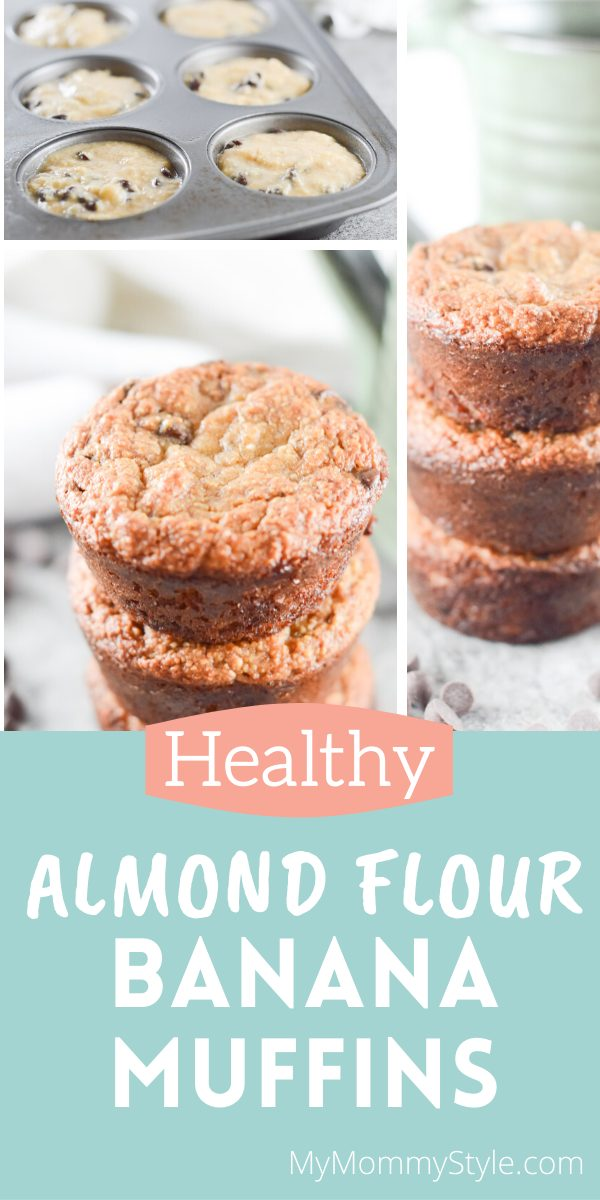 Almond Flour Banana Muffins make the perfect breakfast or snack. They're chock full of gooey chocolate, a delightful banana flavor with a healthier twist. via @mymommystyle