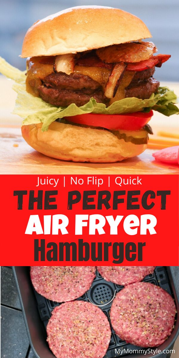 Skip heating up the grill and try this juicy and delicious air fryer hamburger. There's no flipping, cooks evenly, plus it's super quick and easy to make. via @mymommystyle