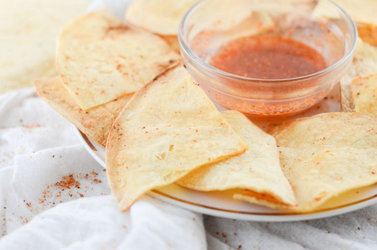 Air Fryer Tortilla chips with Chili Lime Seasoning