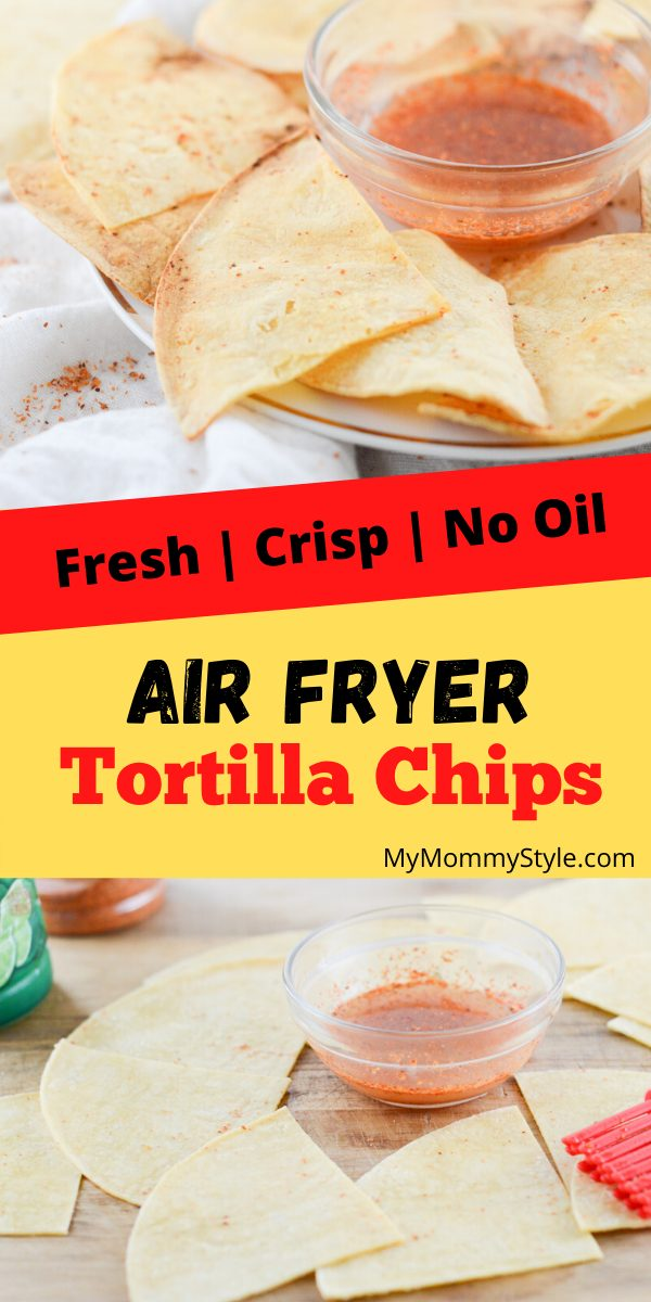 Fresh Air Fryer Tortilla Chips are crisp, perfectly seasoned and irresistible to pass up! Get that perfect chip texture without the use of any oil. #healthiertortillachips #airfryertortillachips via @mymommystyle