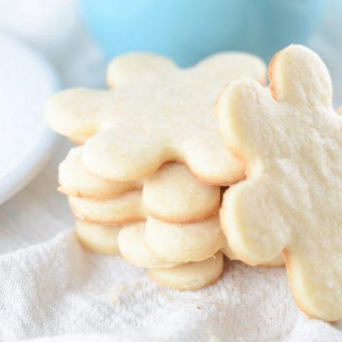 stack of 3 ingredient shortbread cookies