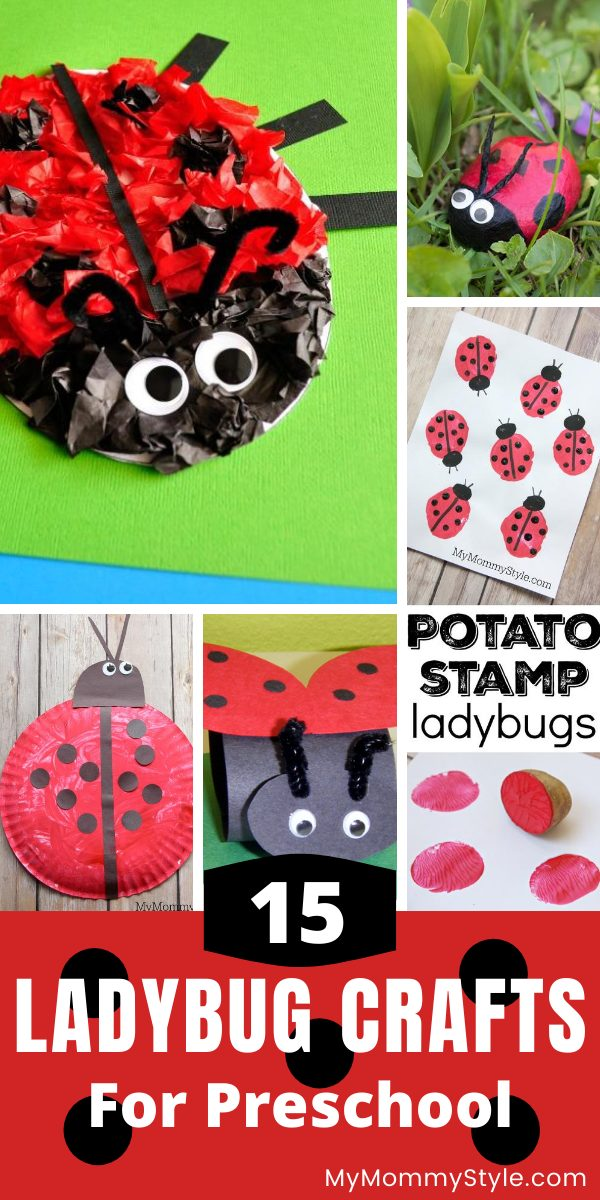 Get creative with this fun collection of fifteen ladybug crafts that are all made with easy to find, common household items. #ladybugcraft #ladybug #crafts #preschoolcraft #ladybugcraftpreschooler via @mymommystyle