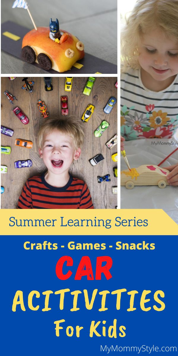 Here are some fun car activities for kids to learn about things that go vroom! Enjoy these exciting games, crafts, books, movies and snacks all about cars! via @mymommystyle