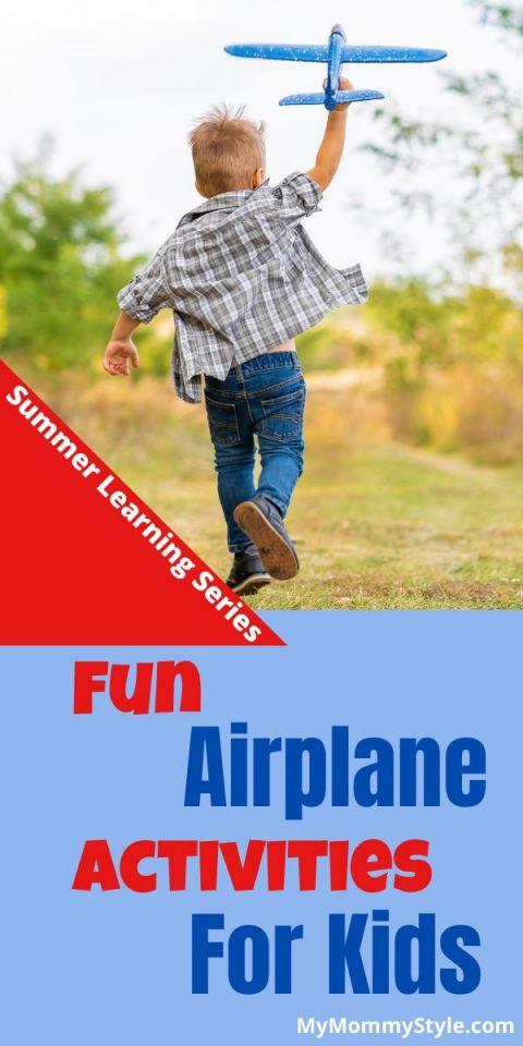 Boy flying toy airplane