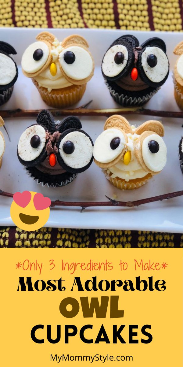 These adorable owl cupcakes are perfect for your next Halloween treat or family party. They are easy to make and only use 3 ingredients.  #halloweencupcakes #owlcupcakes #halloweendesserts #halloweencupcakes #cupcakedecorating #halloweenpartyideas #Halloweenideasforkids #falltreats #fallpartyideas via @mymommystyle