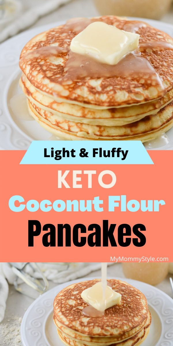These Keto Coconut Flour Pancakes are very similar to the classic pancakes you know and love. Soft, fluffy and easy to make. #ketococonutflourpancakes #ketopancakes #ketobreakfast #easyketobreakfast via @mymommystyle