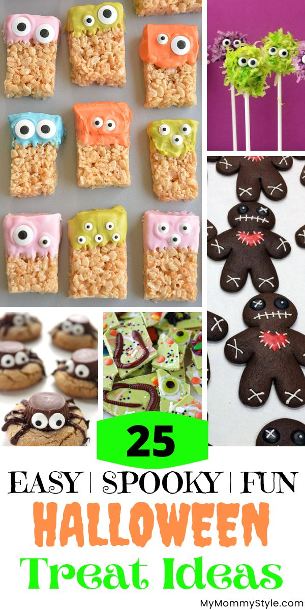 This is a roundup of twenty five favorite Halloween Treat Ideas. Perfect for you next Halloween party or just a fun October dessert. #Halloweentreatideas #easyHalloweentreats #Halloweentreats via @mymommystyle