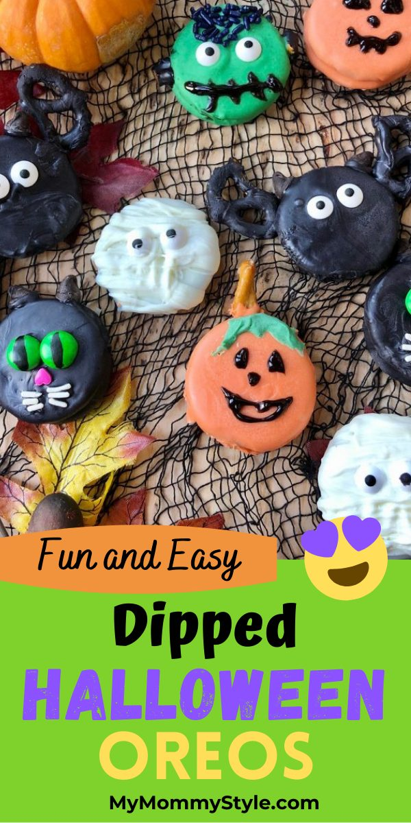 These Halloween Oreos are dipped in chocolate and easy to make. Add some bats, cats, Frankenstein, pumpkins and ghosts to your next spooky party.  #Halloween Oreos via @mymommystyle