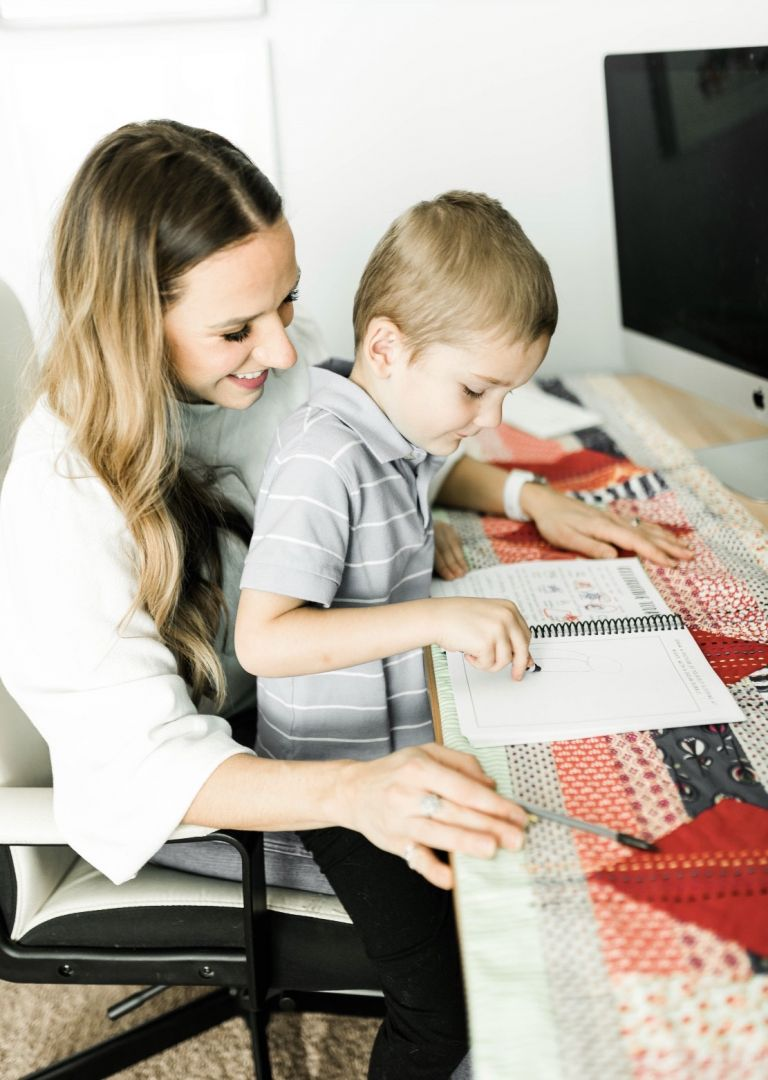 Mom and Child journaling