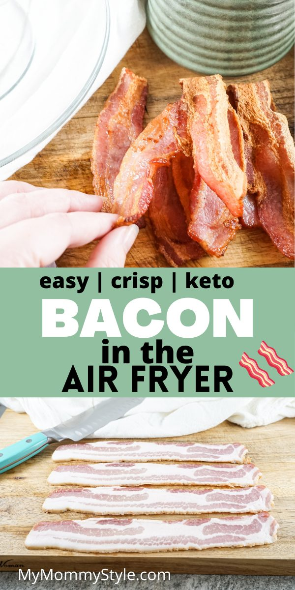 Skip that skillet and cook up some Bacon in the Air Fryer for your breakfast! Quick, easy, and perfect every single time. #baconintheairfryer #airfryerbacon #howtocookbaconintheairfryer via @mymommystyle