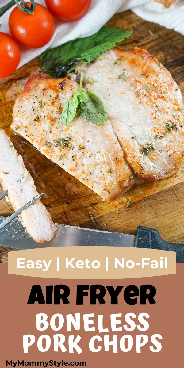 These Air Fryer Boneless Pork Chops create a perfect and delicious dinner every time. They're easy and cook up just right every time. #airfryerbonelessporkchops #easyketodinner via @mymommystyle