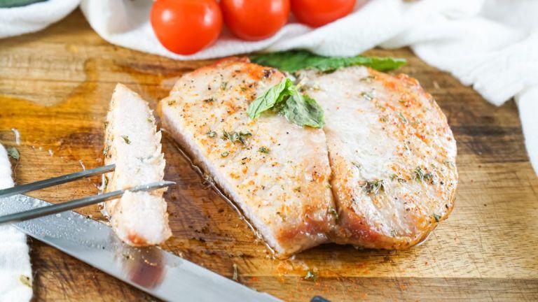 Air Fryer Boneless Pork Chops sliced