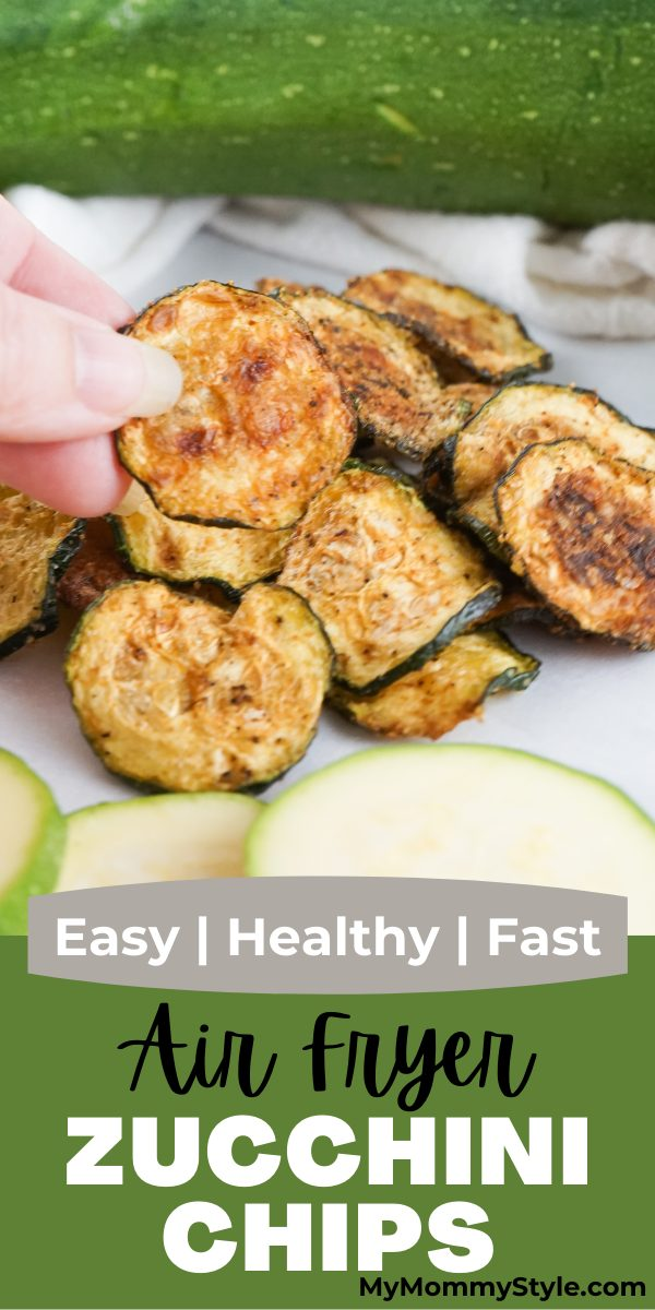 Lightly seasoned Air Fryer Zucchini Chips have a nice crisp and make the best savory snack! They take little effort, time and ingredients. #airfryerzucchinichips #airfryerzucchini #zucchiniinairfryer #zucchinichipsairfryer via @mymommystyle