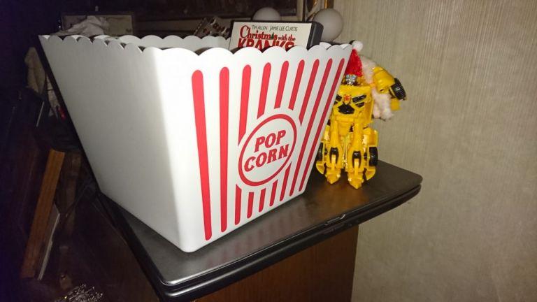 Transformer Action Figure with popcorn bucket