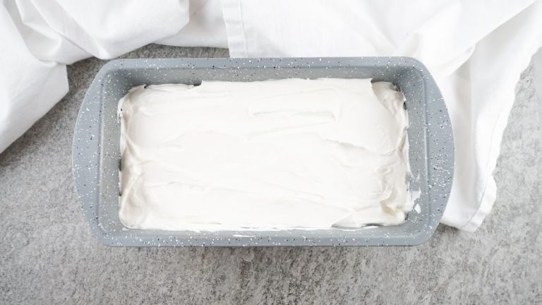 Loaf pan of homemade keto ice cream