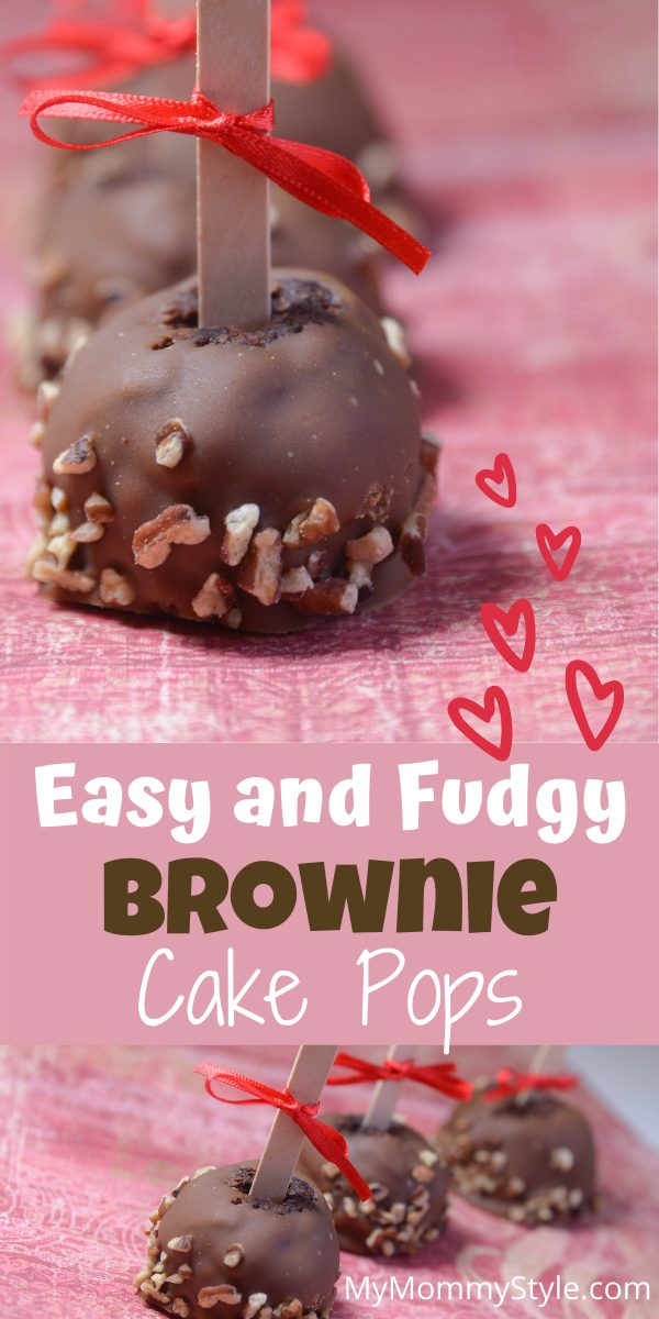 Give your valentine a special treat with these fudgy brownie cake pops. These chocolaty pops are easy make and hard to resist. #browniecakepops #browniepops #valentines #valentinesdessert via @mymommystyle