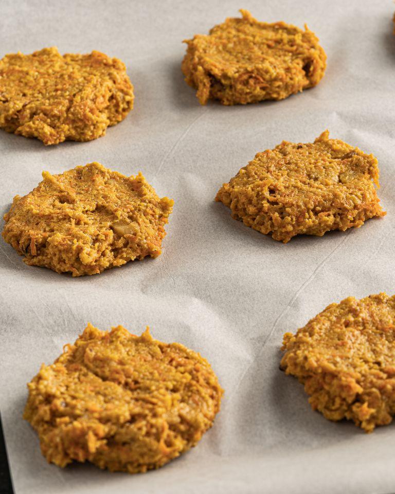 carrot cake cookies flattened