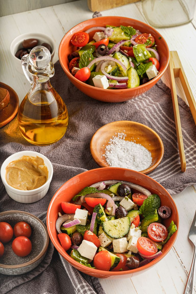 2 bowls of easy Greek Salad