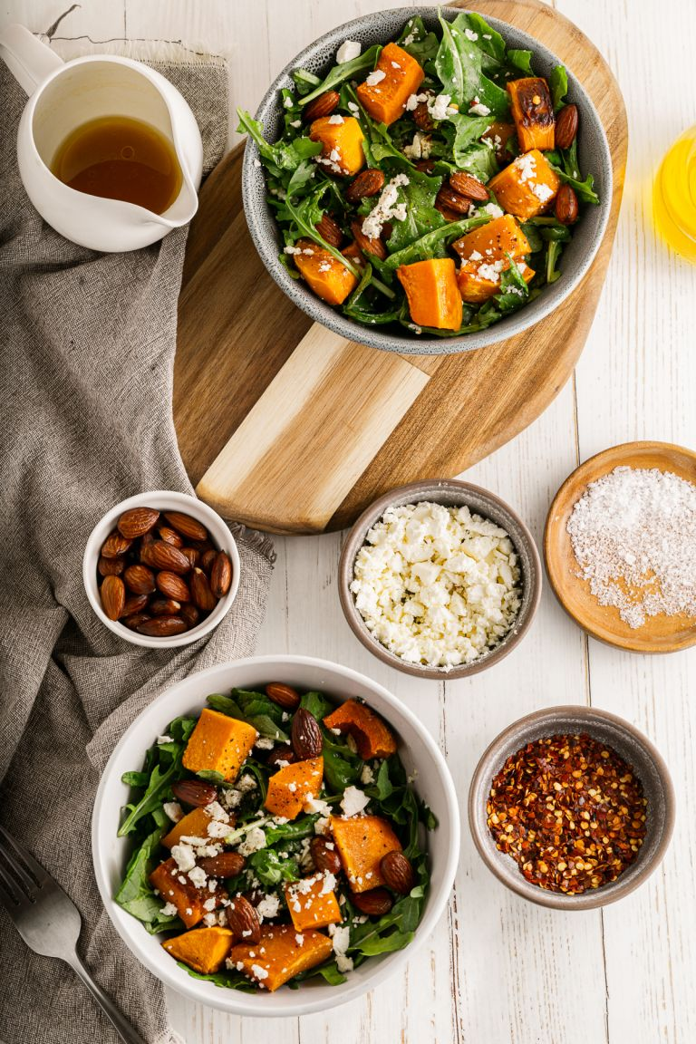 two bowls of roasted butternut squash salad
