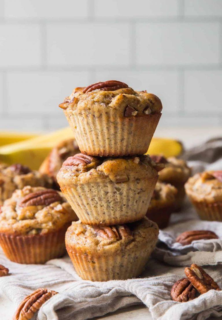 banana pecan protein muffins