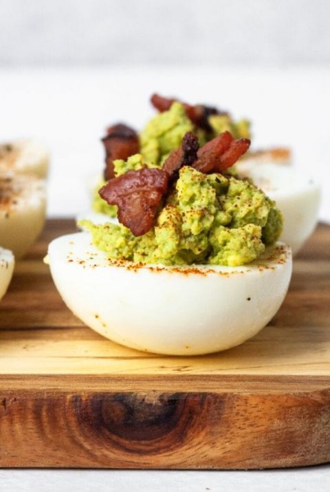 deviled bacon avocado eggs