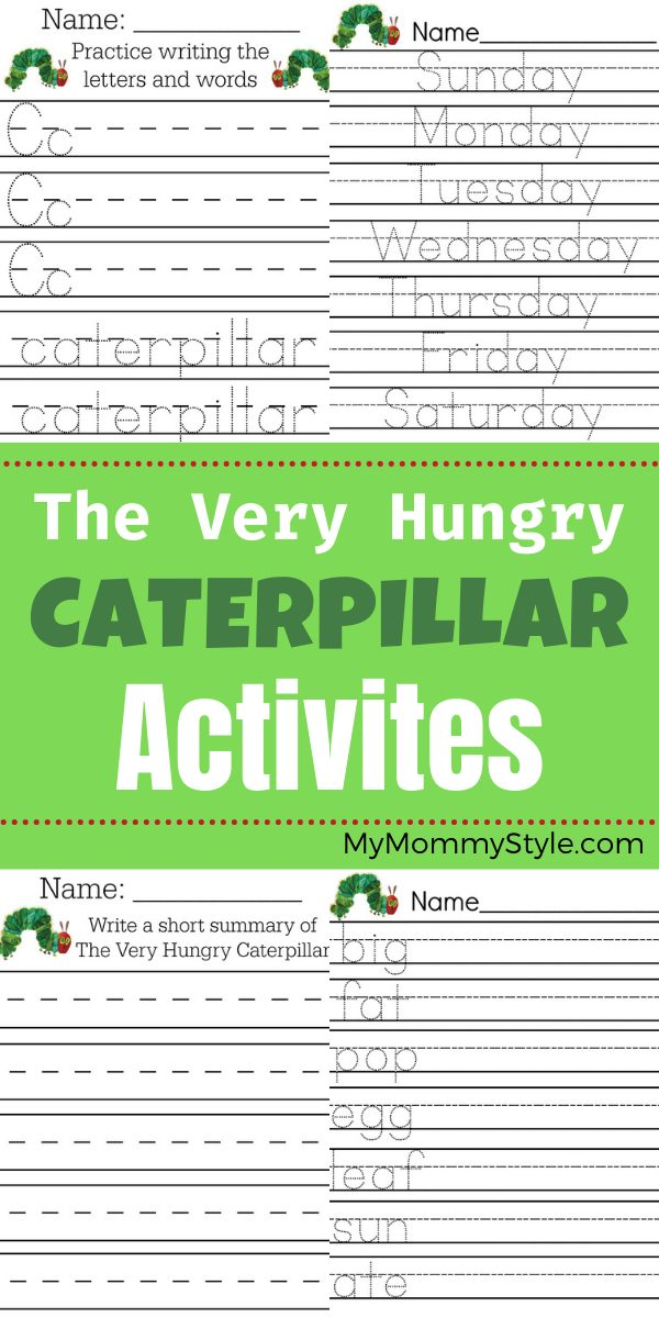 After you read The Very Hungry Caterpillar, here are some fun activities. These are free printables for your young learner to enjoy. #theveryhungrycaterpillaractivities #theveryhungrycaterpillar #theveryhungrycaterpillarpdf via @mymommystyle